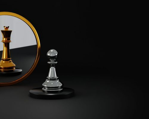 Сhess pawn reflected as a king. Promotion and ambition concept, changing personalities concept. Leadership and competition abstract.
